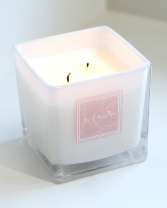 Strong and Free Candle in WHITE