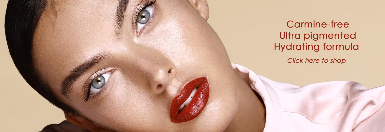 No Carmine red lipstick